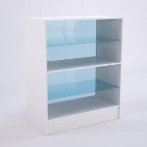 Balcão de atendimento com vitrine dupla na cor branca