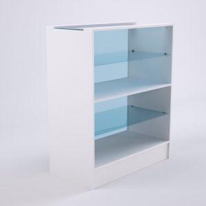 Balcão de atendimento com vitrine superior na cor branca