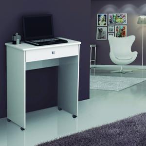 Mesa fit com uma gaveta na cor branca